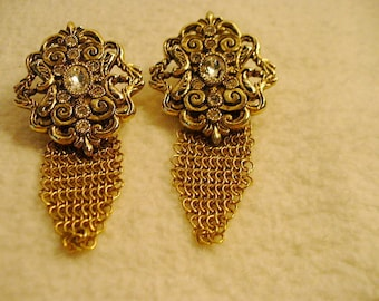 Outstanding Vintage Whitney and Davis Pierced Gold and Rhintestone Large Earrings with Mesh Dangle