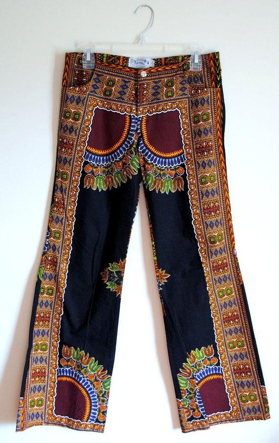 VTG. 70's Women's Hippie Boho Tribal African Fabric Hip Hugger/Bell Bottom Flare Pants (S-M)