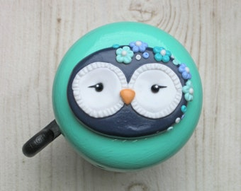 Bike Bell - Owl Bernadette - 55mm - glossy varnish - polymer clay - handsculpted
