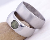 Custom Steel Engagement and Wedding Ring, Women ring with moldavite - Hand forged stainless steel ring with moldavite - Classic with stone
