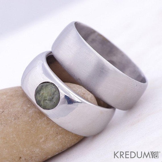 MOLDAVITE simple WEDDING Band Handmade Stainless Steel
