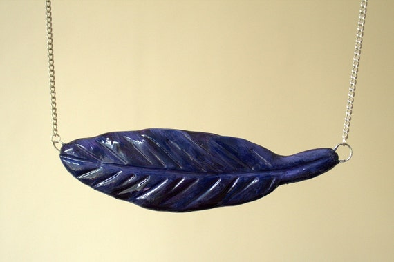 Blue and purple leaflike feather necklace OOAK