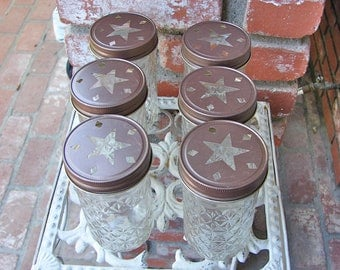 Mason Jar Tall Tumblers and Pewter or Bronze  Star Cut Mason Jar Lids - 6 Quilted Mason Jelly Jars - 6  Lids...JJS-6