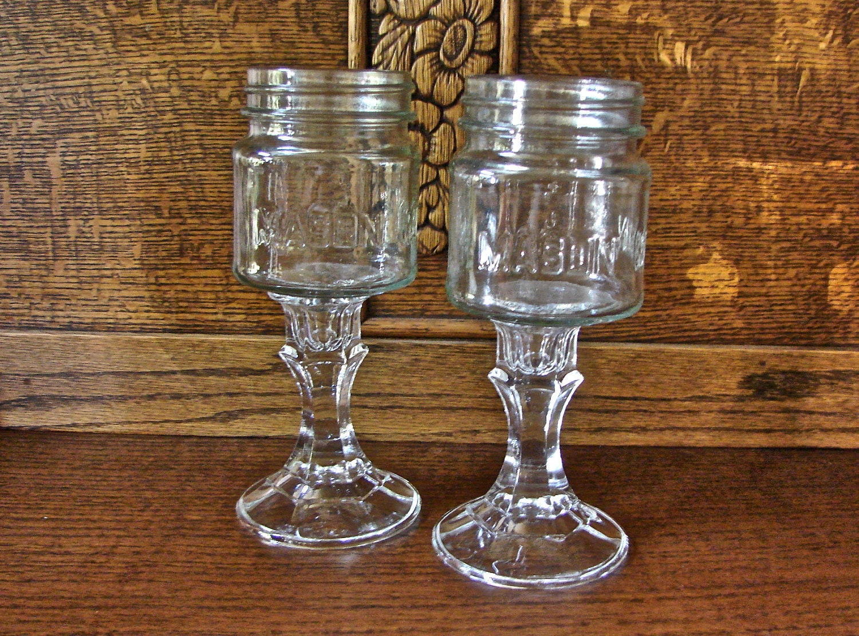 Handmade rustic mason jar wine glasses bride by glassactsupply - Stemmed mason jars ...