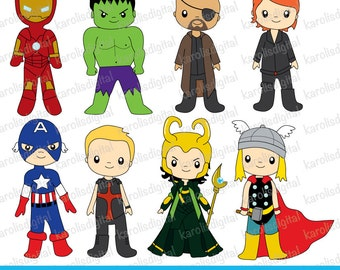 superheroes digital clip art set - Personal & commercial use