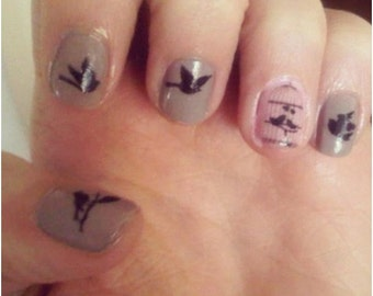 Black Bird and Cage Nail Decals