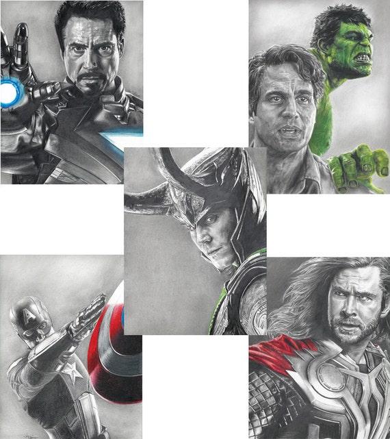 5 Drawing Prints, including Loki, Hulk, Thor, Iron Man and Captain America