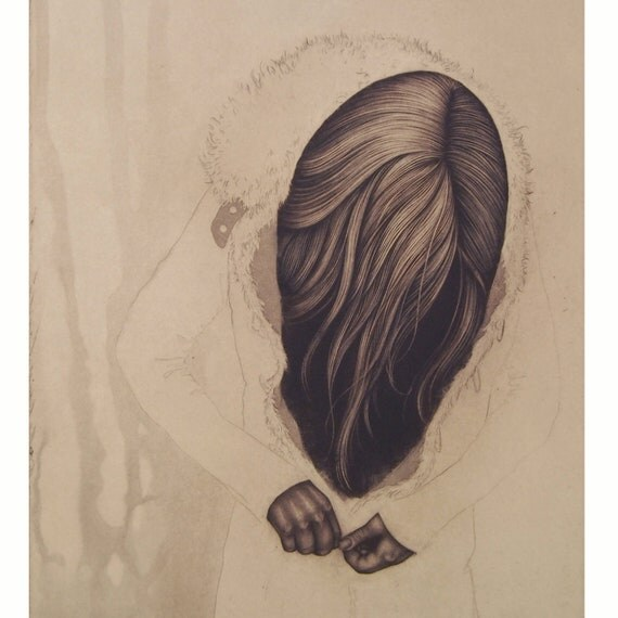 LIMITED TIME SALE! 40% off regular price - momento no. 25 (clasp) - original intaglio print by Carrie Lingscheit