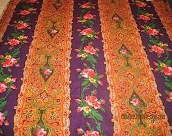 Vintage cotton floral stripe fabric