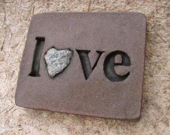 """Love Rocks """"love"""" Plaque with Natural Found Heart Shaped Rock - Affirmation Word Wall Art Sign - Custom Made"""