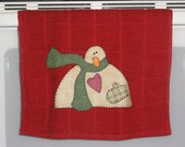 READY TO SHIP Snowman Applique' Towel Christmas Holiday Bathroom Kitchen Shower Hostess Home Decor Gift Secret Santa Gift
