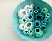 Reserved for Maria -Ocean Fiber Art Melmac Bowl in Turquoise, Aqua, Mint, Barnacle Ocean Art-