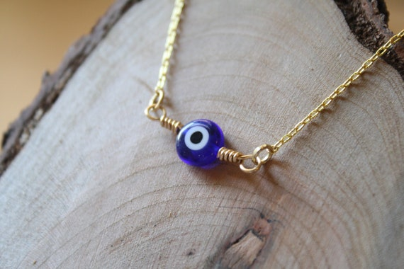 Evil Eye Protector Bracelet in Blue and Gold, Brass