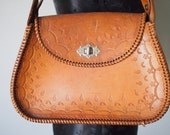 Bohemian Vintage 1970's Tan Leather Handbag