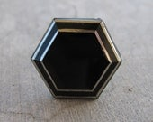 Black Hexagon Vintage Button Adjustable Ring - Upcycled, Dark, Edgy