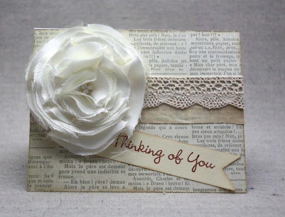 Floral Card - Thinking of You Card, ivory flower, shabby chic, for her, romantic