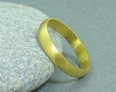 5 mm Handmade Brushed 24K Yellow Gold Over 925K Sterling Silver Designer Half Domed Vermeil Wedding Band Ring - FREE Sizing and Engraving