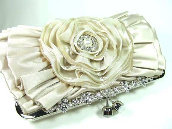 Ivory Floral Bridal Purse Evening Clutch