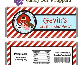Farm Candy Wrapper - Red Striped Farm Animals and Barn Personalized Birthday Party Favor Candy Bar Wraps - A Digital Printable File
