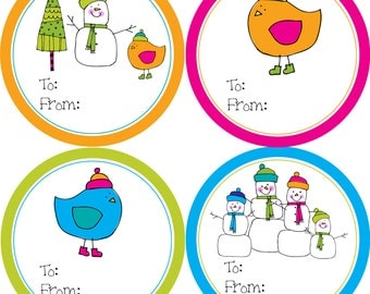 Christmas Gift Tag Stickers - Orange Pink Green Blue Fun Snowman Family and Winter Birds Gift Tags - 20 Round Holiday Labels