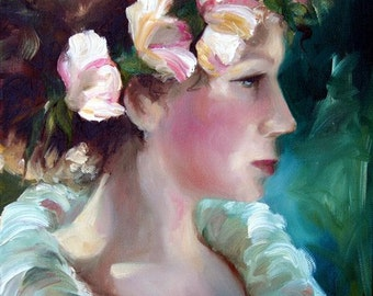 "Ballerina Dancer ""Before the Show"" Art Print of Painting Woman Portrait."