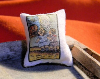 Pillow -  Goblins will Catch you if you don't watch out Halloween -  Miniature Dollhouse Sized