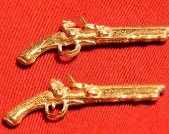 Doll House Dueling Pistols - Silver Colonial Weapons Pair -  Dollhouse Guns - 1/12th Scale - G2