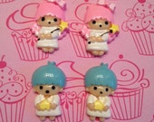 Little Twin Star Kawaii Cabochon Pink and Blue 4pc