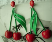 Red Cherry Drop earrings  with green leaf  Retro vintag