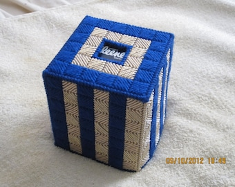BLUE with GOLD METALLIC Boutique Tissue Box Cover