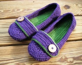 Crochet Women's Slippers, Ballet Flats