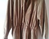 Womens XS / S Tan Leather Jacket Windbreaker