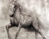 Lightning-Charcoal Horse Drawing-Animal Art-Horse Art-Fine Art