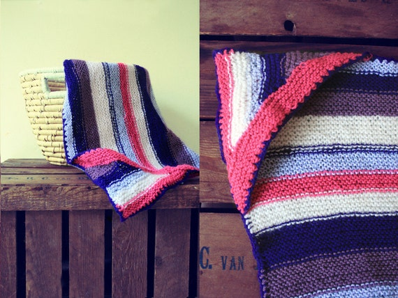 SALE Knit hooded striped baby blanket