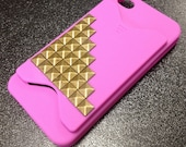Pink  iPhone Case with Studs & CC Holder