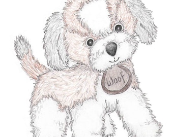 "Puppy Nursery Art, Original Drawing Print, Puppy Dog Sketch, Hand Drawn Illustration, A4 8x10"", Brown Black, Pencil Sketch, Pencil Drawing"