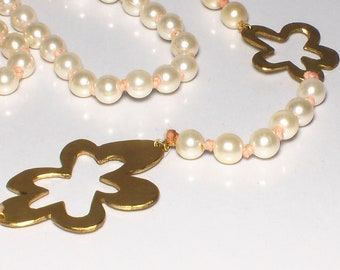 White pearl necklace with brass flowers, hippie, flower power, psychodelic