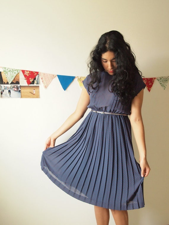 Teal and Red Striped Pleated Dress