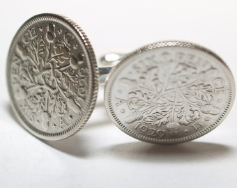 1929 Sixpence Cufflinks 89th birthday.  Original sixpence coins Great gift from 1929 89th