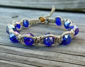 Healing Jewelry Hemp Spiritual Bracelet Blue Czech Beads