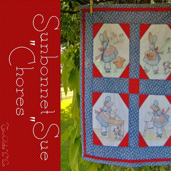 FREE SHIPPING Sunbonnet Sue Daily Chores Wall Art Mini QUILT Gift Item Laundry Room Decor