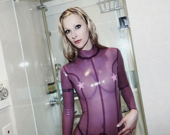 Feeling Starry  / Neck entry woman tight latex catsuit with crotch zipper