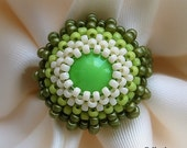 Beaded green ring, fall colors, unique autumn fashion, OOAK