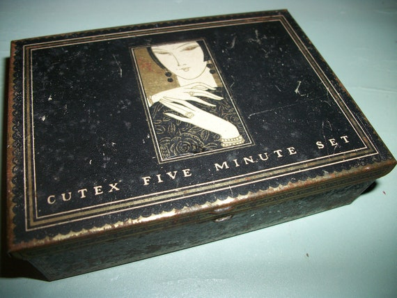 Vintage Cutex Black Tin with Art Deco Styling - Cutex Five Minute Set