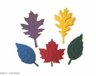 Fall Paper Leaves, Fall Leaves, Fall Colored Leaves,Embossed Paper Leaves, Fall Wedding Decor, Fall Table Confetti, Fall Place Cards, Leaves