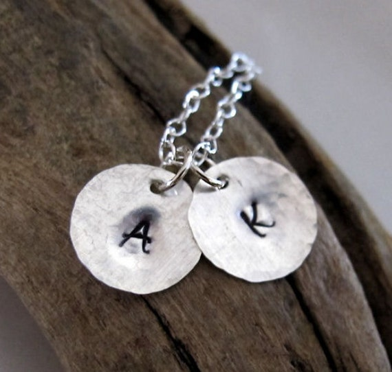 Initial Necklace - Personalized Charms Pendant  - Sterling Silver Hand Stamped Custom Letter Necklace