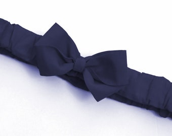 Navy Blue Ruffled Bow Headband . Baby sizes: 0-6m, 6-12m, 12m plus & Made to Measure for Preemie, Baby, Toddler, Girls, Adults