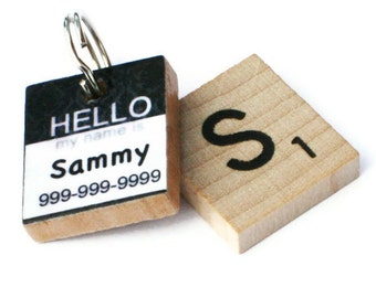 HELLO My Name Is - Damask Scrabble Pet ID Tag - Dog Tag - Cat Tag - Unique Pet Tag