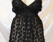 Kate - Delicate 3d black rose babydoll / negligee - plus size UK 16 - 28