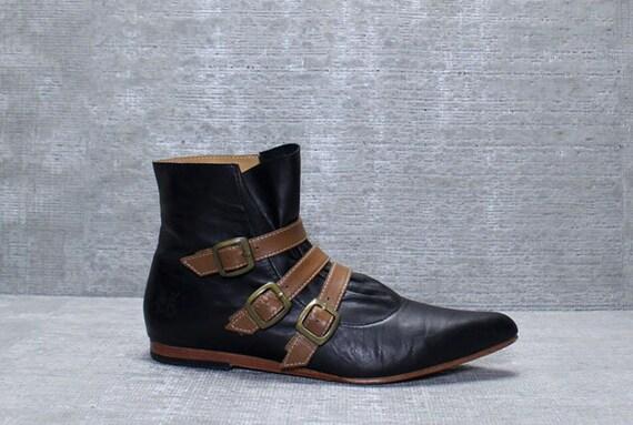 Vtg 90s Black/ Tan John Fluevog Leather Belts Granny Boots Booties 7.5 7 1/2